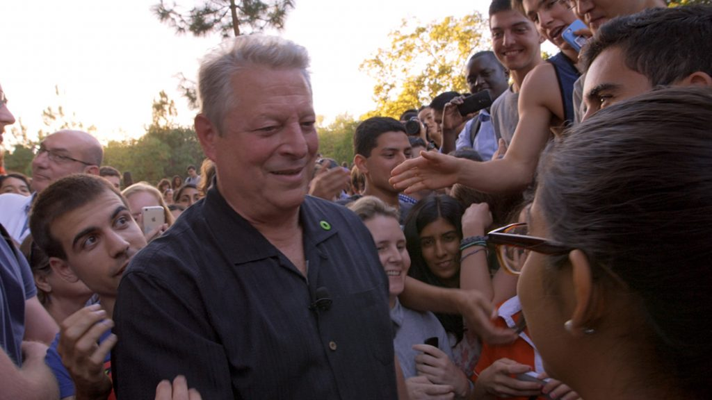 Al Gore attending a rally at Stanford Univeristy following his speech as seen in An Inconvenient Sequel: Truth To Power from Paramount Pictures and Participant Media.